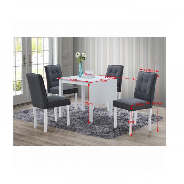 Jedálenský set s rozkladacím stolom, biela/sivá, BJORK NEW 1+4