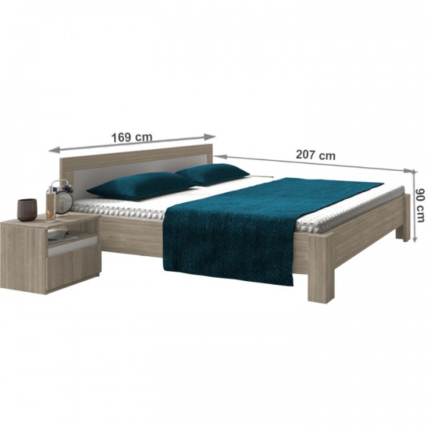 Spálňa, dub sonoma/biela, MEDIOLAN NEW