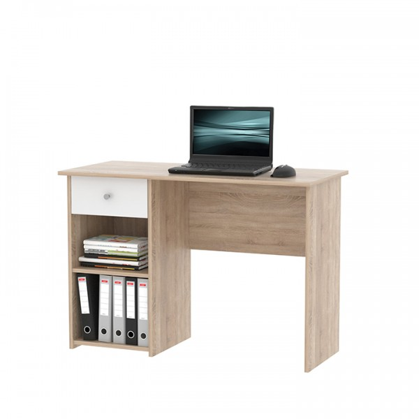 TEMPO KONDELA PC stôl, dub sonoma/biela, KARLIS