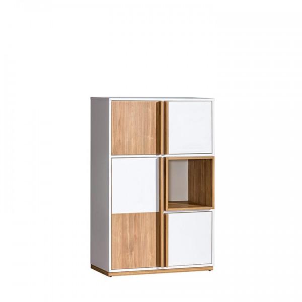 TEMPO KONDELA Komoda, orech select/biela, KNOX E5