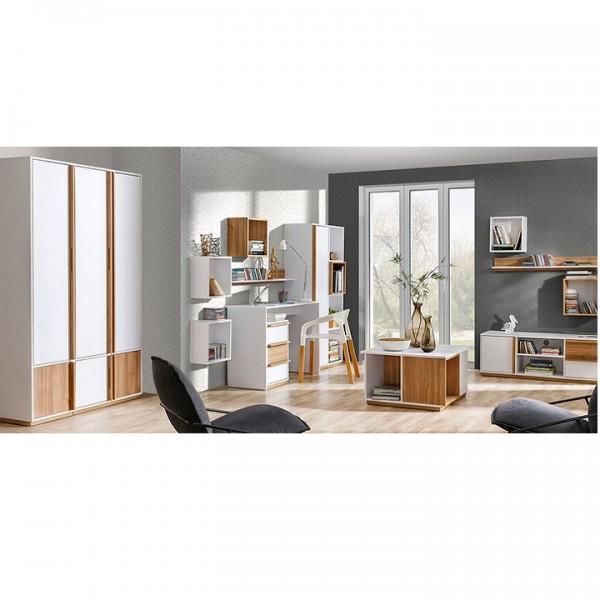 TEMPO KONDELA PC stôl, orech select/biela, KNOX E14