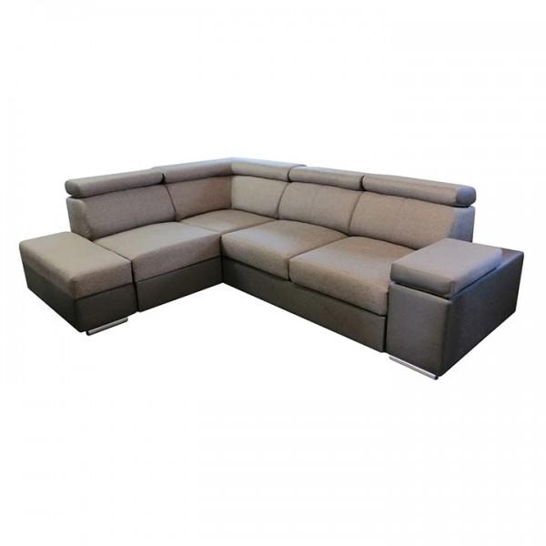 TEMPO KONDELA Rohová sedacia súprava, hnedá/sivohnedá, pravá, MARBELA 2+1