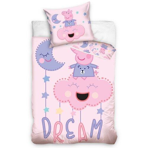 BedTex Detské bavlnené obliečky do postieľky Prasiatko Peppa Sladké Sny, 100 x 135 cm, 40 x 60 cm