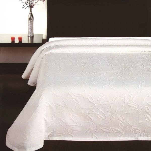 Forbyt Prehoz na posteľ Floral biela, 240 x 260 cm