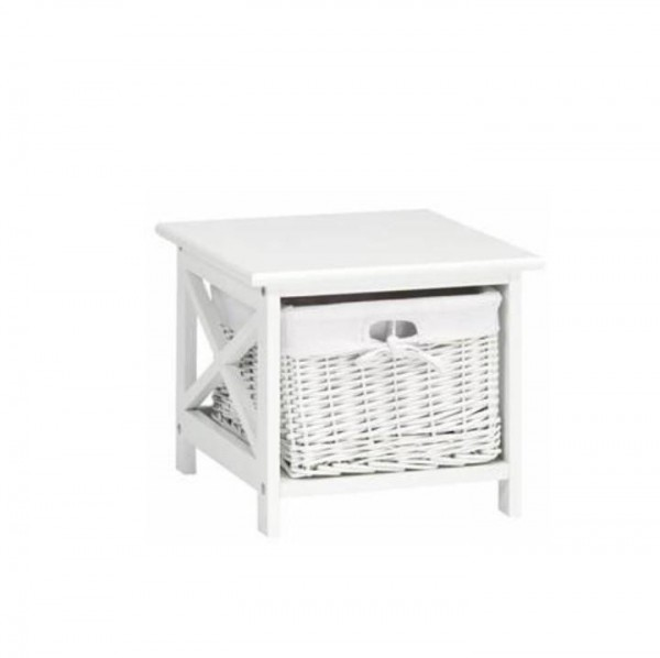 TEMPO KONDELA Nočný stolík, drevo/prútie/látka, biela, RAFAELLO