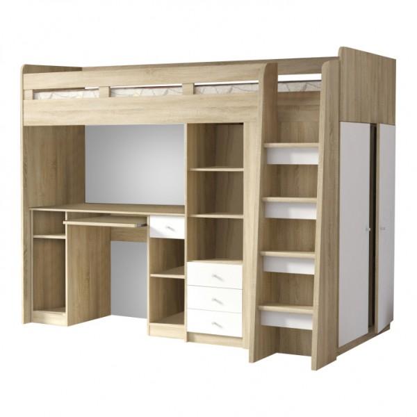 TEMPO KONDELA Kombinovaná viacúčelová posteľ, dub sonoma/biela, SUN