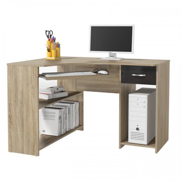 Rohový PC stôl, dub sonoma/čierny lesk, UMAG