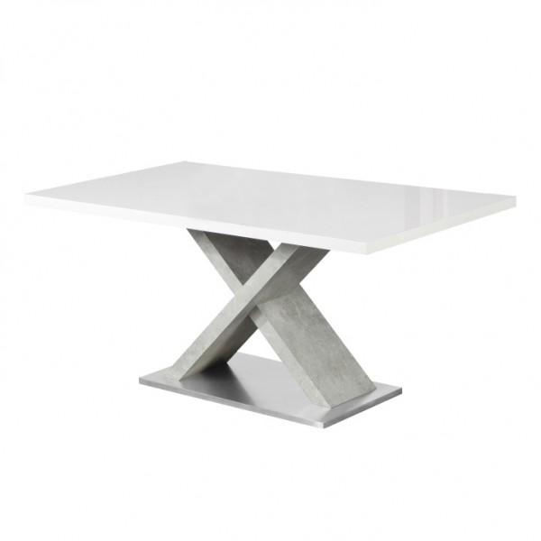 Jedálenský stôl, biela s vysokým leskom HG/betón, FARNEL