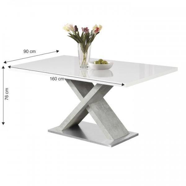 TEMPO KONDELA Jedálenský stôl, biela s vysokým leskom HG/betón, FARNEL