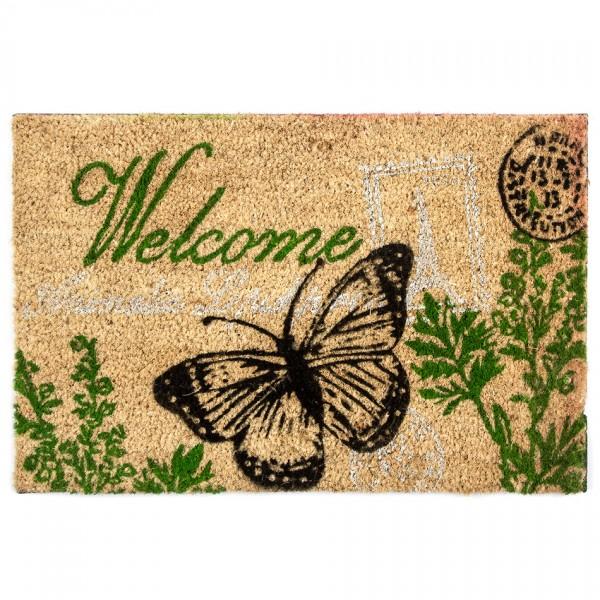 Home Elements Kokosová rohožka Welcome motýľ, 40 x 60 cm