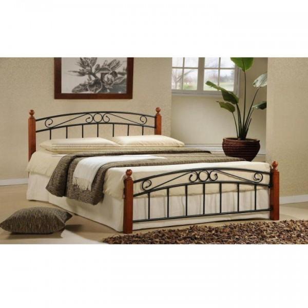 TEMPO KONDELA Manželská posteľ, čerešňa/čierny kov, 180x200, DOLORES