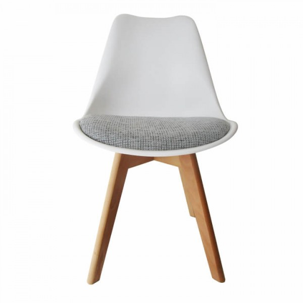 Stolička, biela/svetlosivá, DAMARA