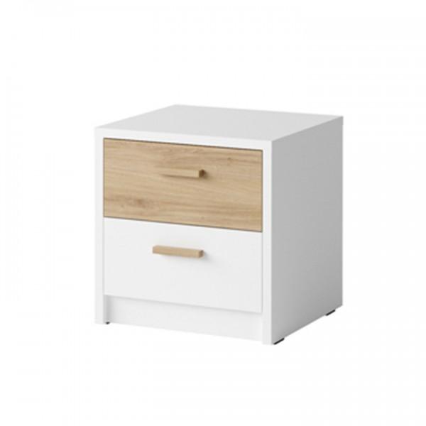 TEMPO KONDELA Nočný stolík (2 ks), biela/dub divoký, SIMPLA