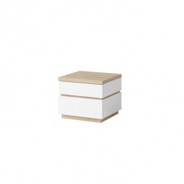 TEMPO KONDELA Nočný stolík (2ks), biela/dub divoký, PIETRO