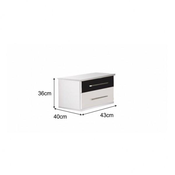 Nočný stolík (2 ks), biela/čierna, Rublin