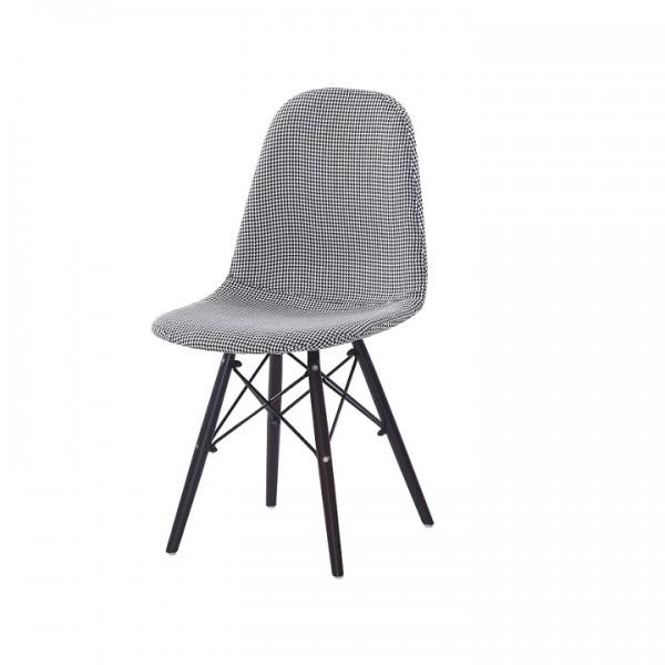 TEMPO KONDELA Jedálenská stolička, čierna/biela, AMPERA NEW