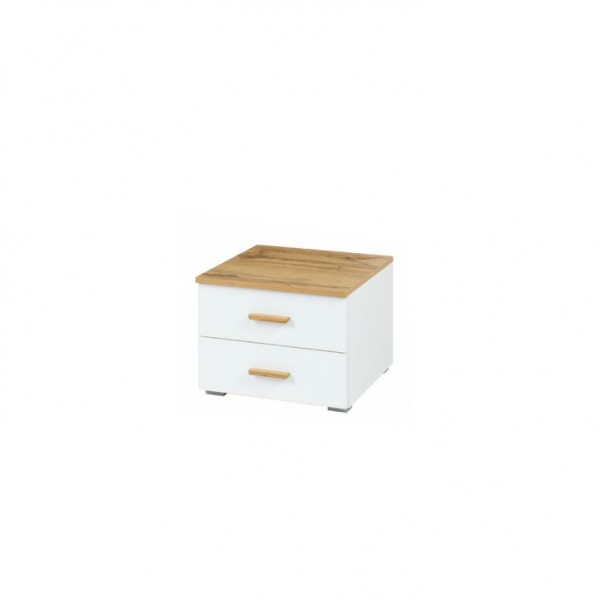 TEMPO KONDELA Nočný stolík (2ks), dub wotan/biela, VODENA