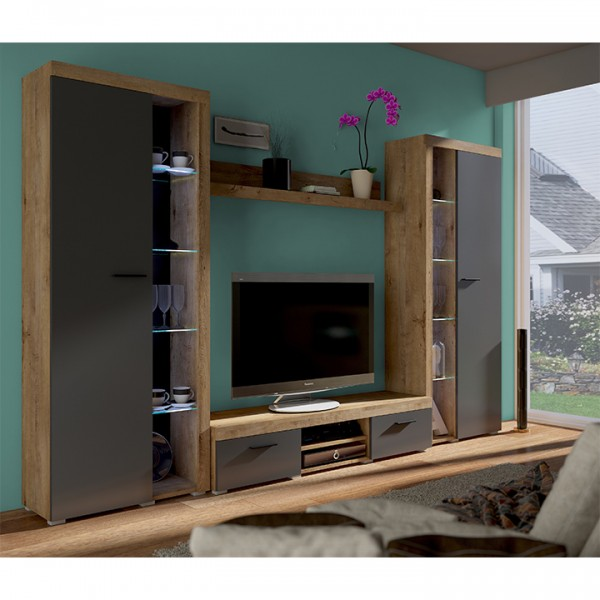 Obývacia stena, dub lefkas/grafit, NESEBAR XL