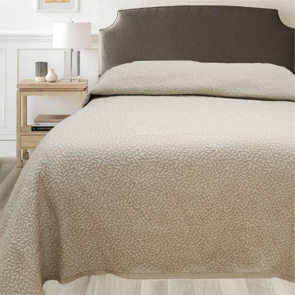 FORBYT Prehoz na posteľ Leaf béžová, 140 x 220 cm