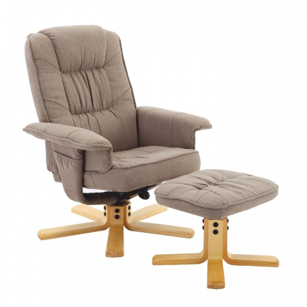 TEMPO KONDELA Relaxačné kreslo s podnožou, hnedosivá, LERATO