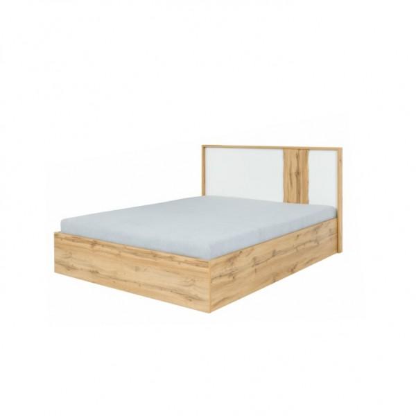 TEMPO KONDELA Posteľ s úložným priestorom, dub wotan/biela, 180x200, VODENA