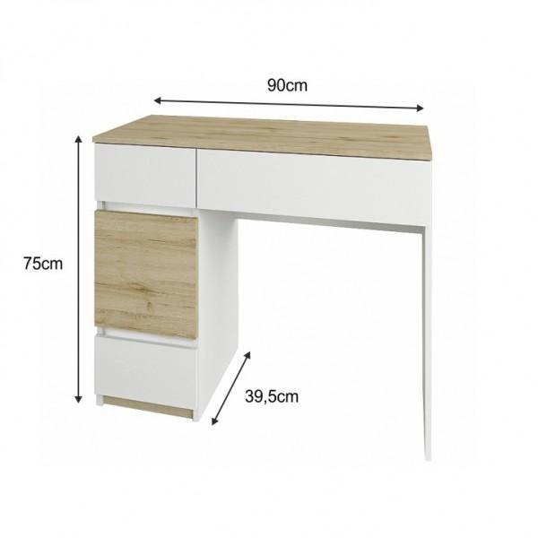 Toaletný stolík, dub wellington/biela, LEIRA