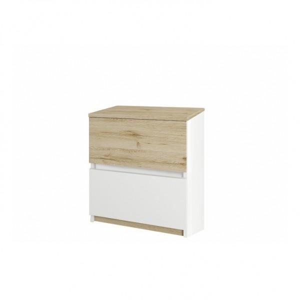 Nočný stolík, dub wellington/biela, LEIRA 2S