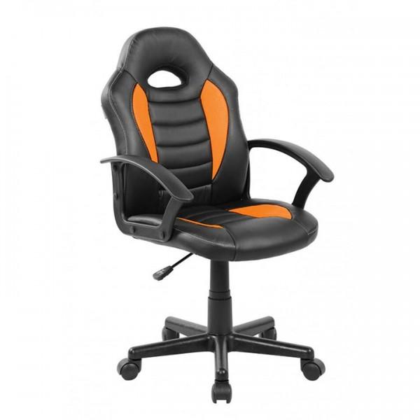 TEMPO KONDELA Kancelárske kreslo, ekokoža čierna/oranžová, MADAN