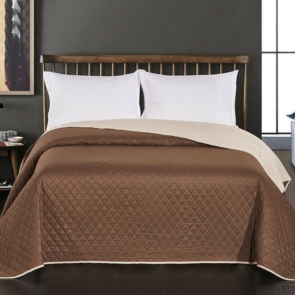 DecoKing Prehoz na posteľ Axel hnedá/krémová, 220 x 240 cm