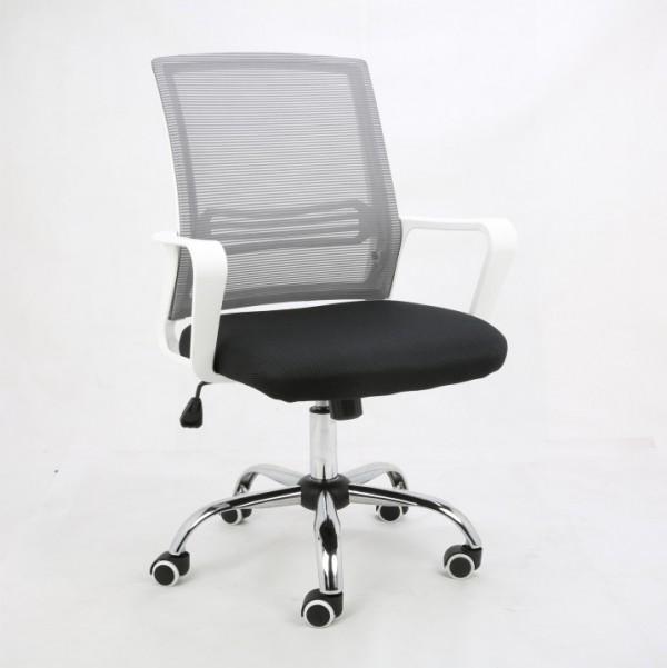 TEMPO KONDELA Kancelárska stolička, sieťovina sivá/látka čierna/plast biely, APOLO
