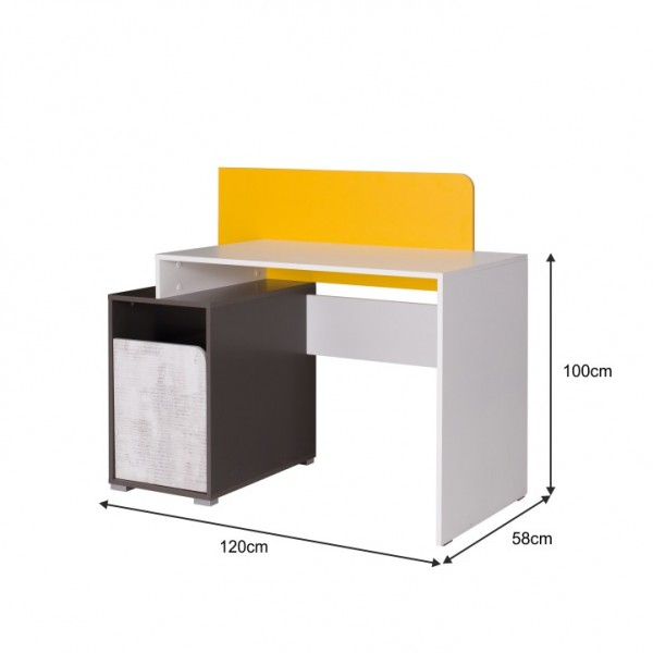 PC stôl B8, biela/sivý grafit/enigma/žltá, MATEL