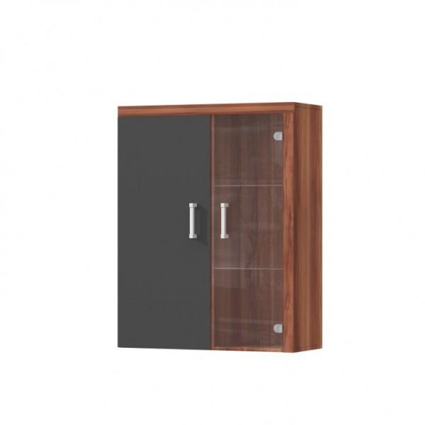 TEMPO KONDELA Závesná vitrína, slivka/sivý grafit, CHERIS 4
