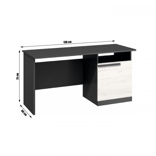 PC stôl, sosna andersen/sivá grafit, BEVERLY