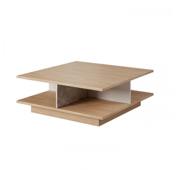 Konferenčný stolík, betón/dub jantár/biely mat, LAGUNA