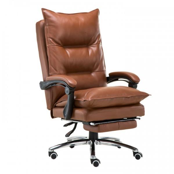 TEMPO KONDELA Kancelárske kreslo s podnožou, ekokoža hnedá, DRAKE