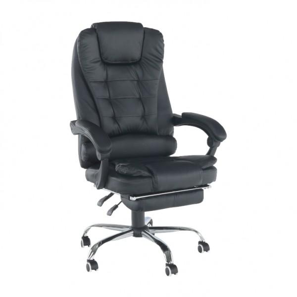 TEMPO KONDELA Kancelárske kreslo s výsuvnou podnožou, čierna, TICHON NEW