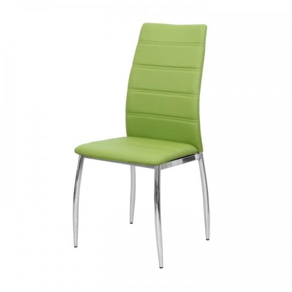 TEMPO KONDELA Jedálenská stolička, ekokoža zelená/chróm, DELA