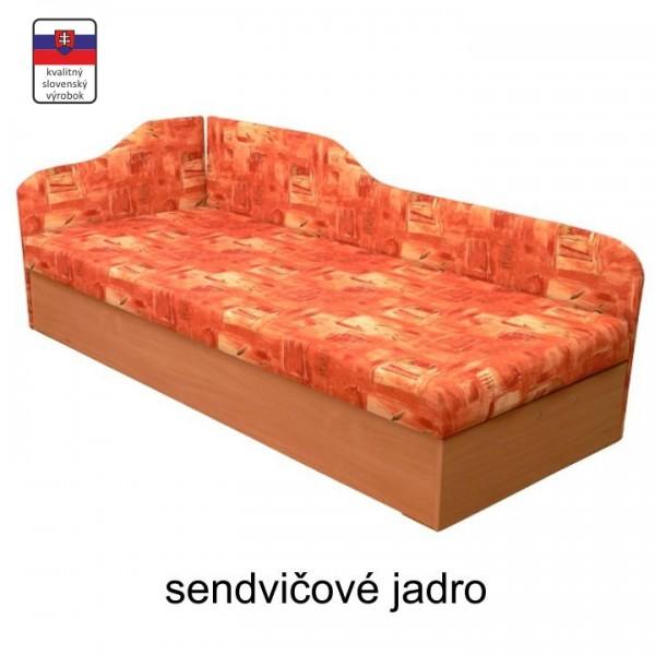 TEMPO KONDELA Váľanda so sendvičovým matracom, ľavá, oranžová/vzor, EDVIN 4.2