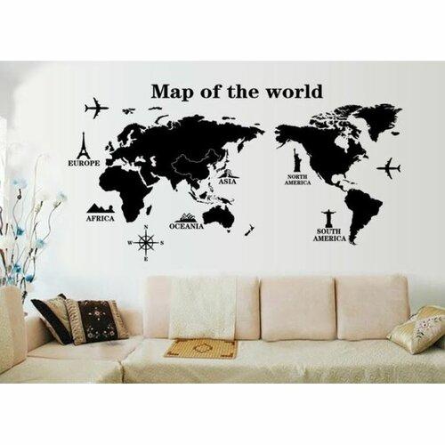 Samolepiaca dekorácia Mapa sveta dominanty, 120 x 60 cm