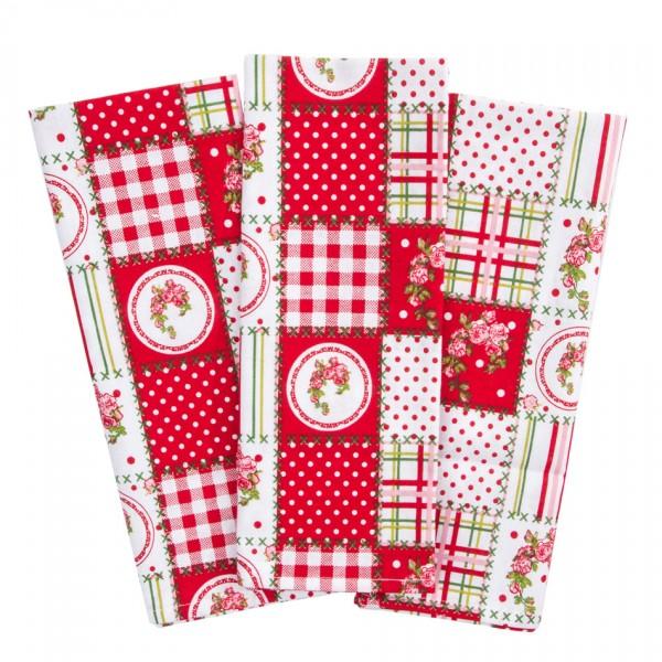 Trade Concept Kuchynská utierka Country patchwork červená, 50 x 70 cm, sada 3 ks