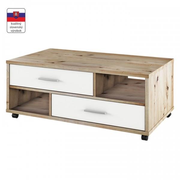 TEMPO KONDELA Konferenčný stolík, dub artisan/biela, DESIRE