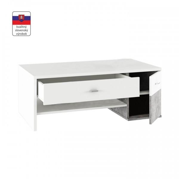 TEMPO KONDELA Konferenčný stolík, biela/betón, DILANO