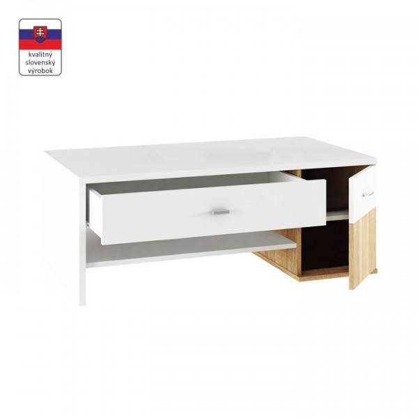 TEMPO KONDELA Konferenčný stolík, dub sonoma/biela, DILANO