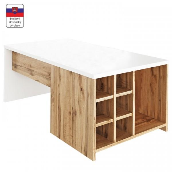 TEMPO KONDELA Konferenčný stolík, biela/dub wotan, DARAH