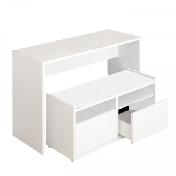 Toaletný stolík, toaletka s lavicou, biela, DELIMA