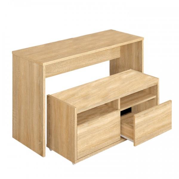 TEMPO KONDELA Viacúčelový stôl a lavica, dub sonoma, DELIMA