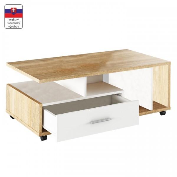 TEMPO KONDELA Konferenčný stolík, biela/dub sonoma, DECHEN