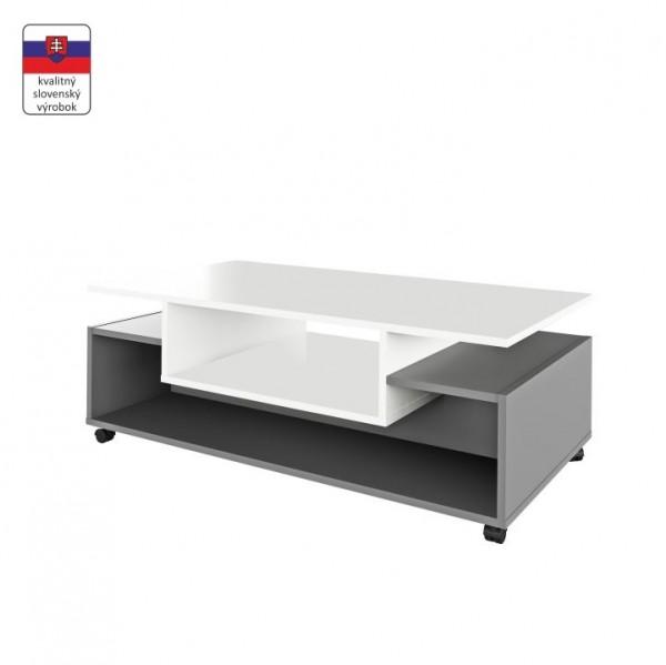 TEMPO KONDELA Konferenčný stolík na kolieskach, biela/grafit, DALEN