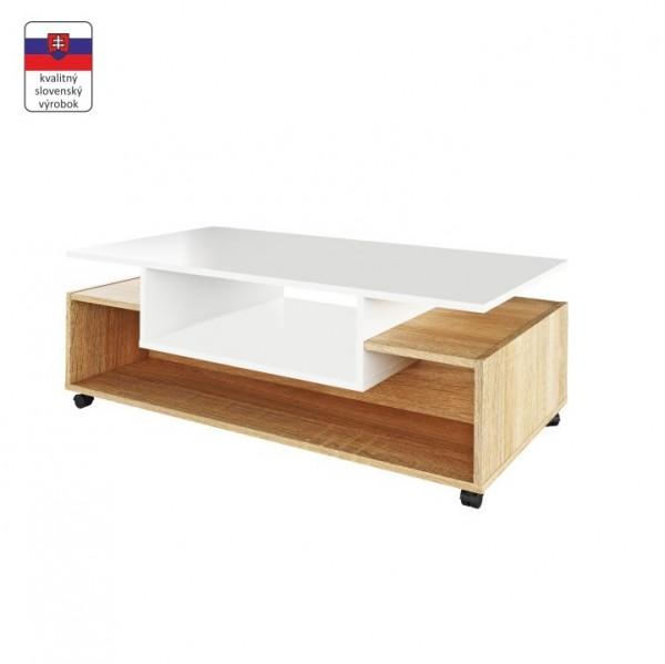 TEMPO KONDELA Konferenčný stolík na kolieskach, biela/dub sonoma, DALEN