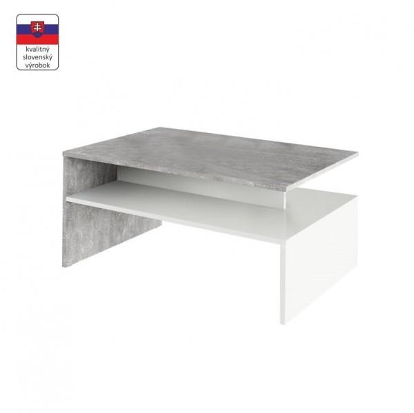 TEMPO KONDELA Konferenčný stolík, betón/biela, DAMOLI